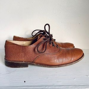 Frye Paige Oxford Lace Up Brown Leather Flats